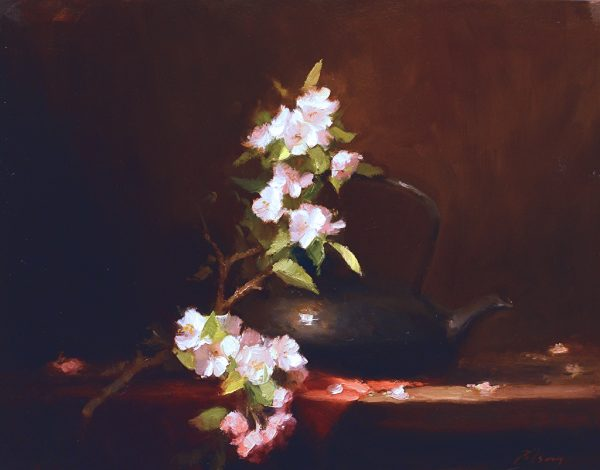 An original oil painting of a still life titled Apple Blossom Tea by Kelli Folsom