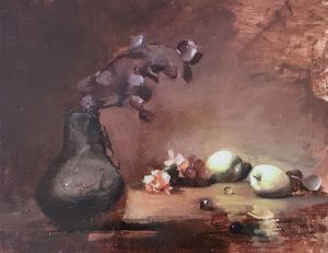 An original oil painting of a still life titled Apples, Carnations and Grapes by Kelli Folsom