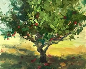 An original oil painting of a plein air titled Apples in the Ranchos by Kelli Folsom