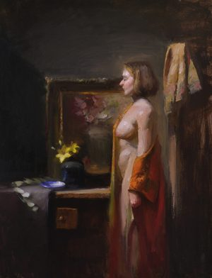 An original figurative oil painting titled At Her Dressing Table by Kelli Folsom