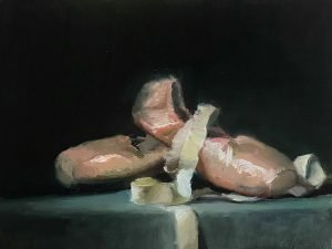 An original oil painting of a still life titled Ballet Shoes by Kelli Folsom