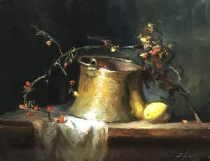 An original oil painting of a still life titled Bittersweet Copper and Lemon by Kelli Folsom