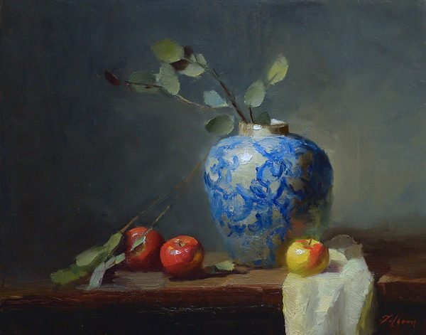 An original oil painting of a still life titled Blue Vase with Apples by Kelli Folsom