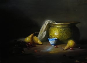 An original oil painting of a still life titled Brass, Pears and a Chinese Teacup by Kelli Folsom
