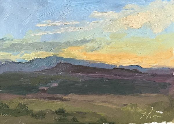 An original oil painting of a plein air landscape titled Canyon Sunset by Kelli Folsom