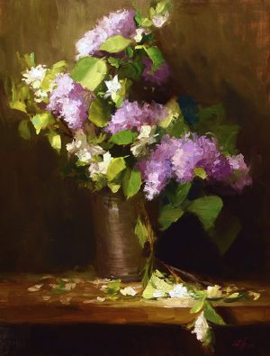 An original oil painting of a still life titled Cascading Lilacs by Kelli Folsom
