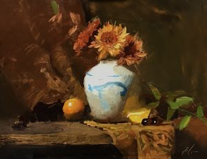 An original oil painting of a still life titled China Blue and Mums by Kelli Folsom