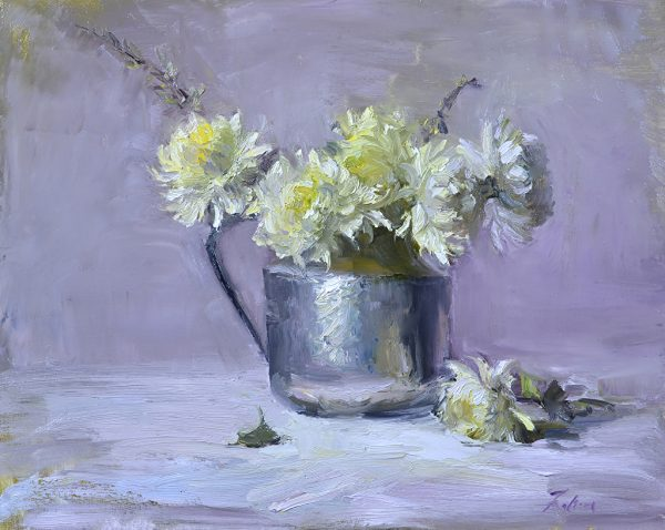 An original oil painting of a still life titled Chrysanthemums in Silver by Kelli Folsom