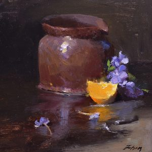 An original oil painting of a still life titled Citrus and Pottery by Kelli Folsom