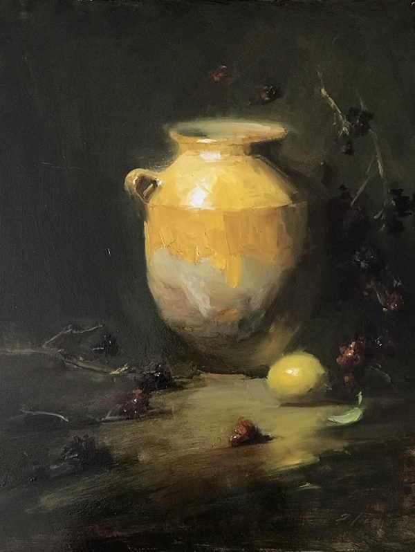 An original oil painting of a still life titled Confit Jar with Bramble by Kelli Folsom