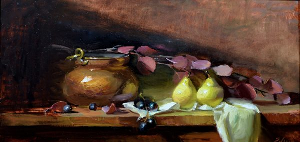 An original oil painting of a still life titled Copper and Pears by Kelli Folsom