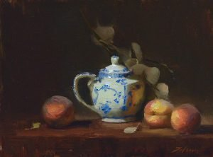 An original oil painting of a still life titled Delft Sugar Jar and Peaches by Kelli Folsom