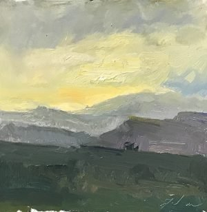 An original oil painting of a plein air landscape titled Evening Glow by Kelli Folsom