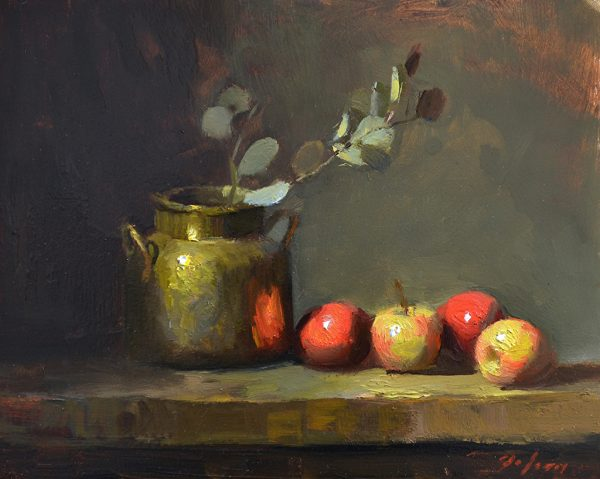 An original oil painting of a still life titled Fall Apples and Brass by Kelli Folsom