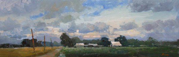 "Farm Country, Oil on Canvas, 10"" x 30"""