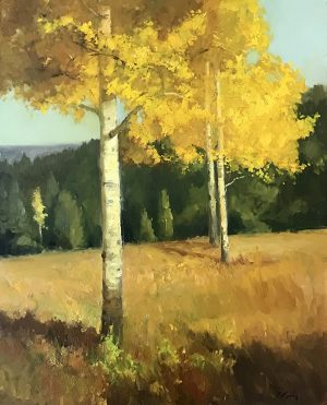 Golden Aspens, Oil on Linen