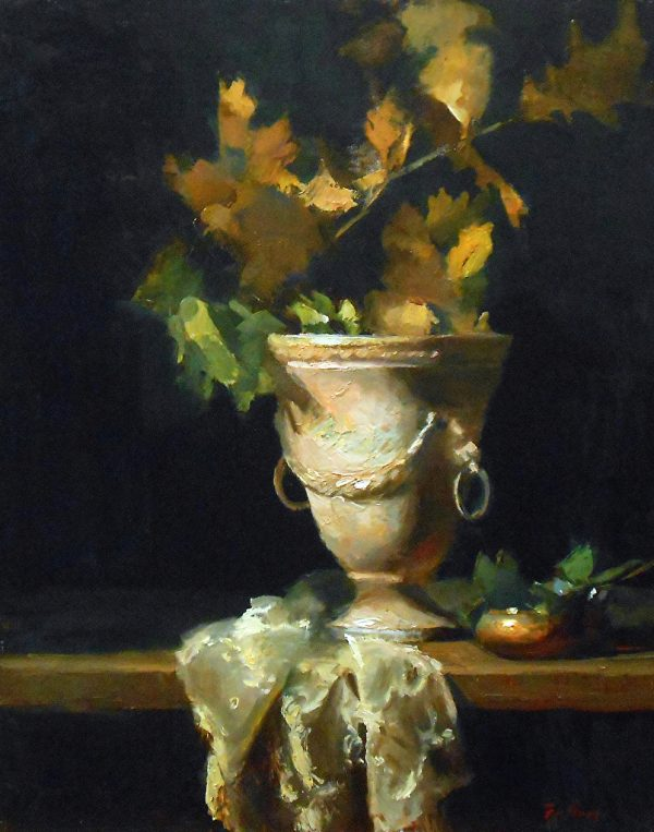 """Golden Leaves and Stone, Oil on Linen, 20"""" x 16"""""""