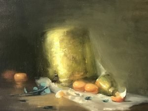 An oil painting of a brass and fruits