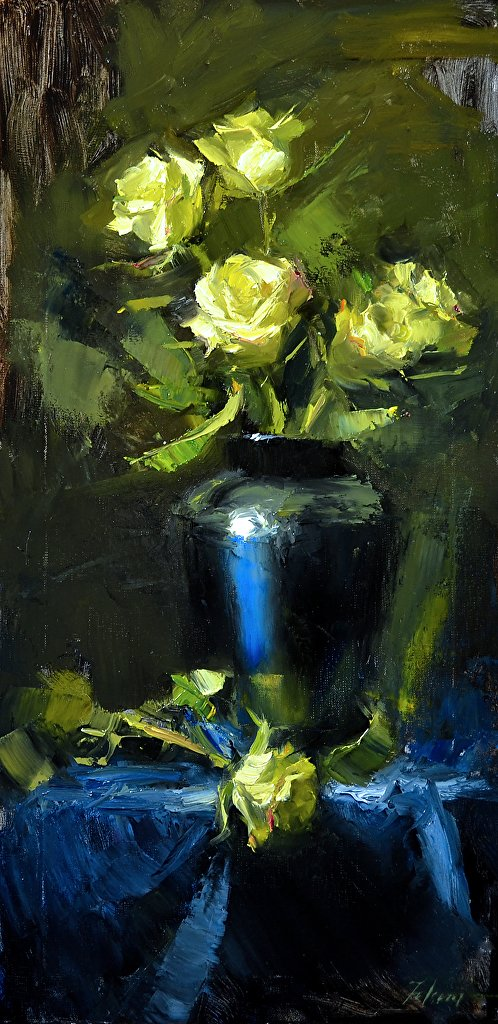 """Midnight Blue and Yellow, Oil on Canvas, 24"""" x 12"""""""