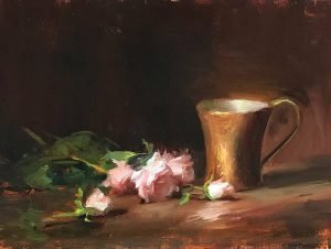 Pink Roses and Bronze Cup