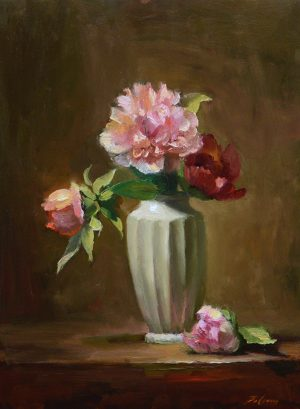 An original oil painting of a still life titled Pretty Peonies by Kelli Folsom