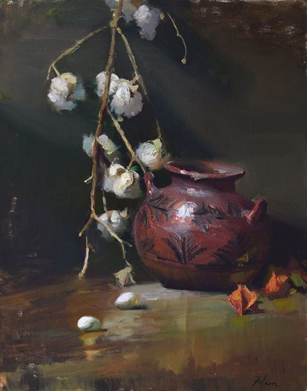 "Pueblo Pottery and Cotton Balls, Oil on Linen, 20"" x 16"""