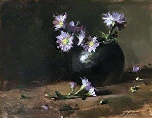 An original oil painting of a still life titled Purple Wildflowers by Kelli Folsom