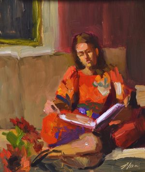 "Reading Time, Oil on Panel, 10"" x 8"""