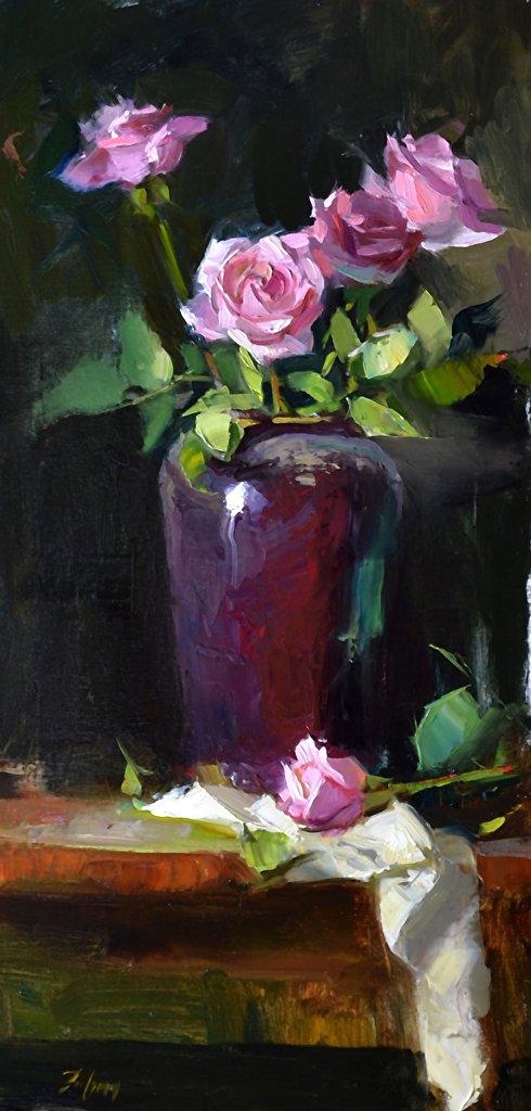 """Rhapsody in Pink, Oil, 24"""" x 12"""""""