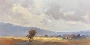 An original oil painting of a plein air landscape titled Southwestern Sky by Kelli Folsom