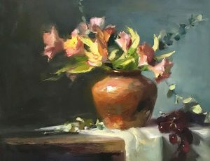 An original oil painting of a still life titled Springtime Bouquet by Kelli Folsom