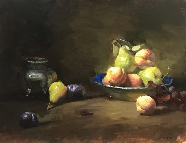 An oil painting of summer fruits