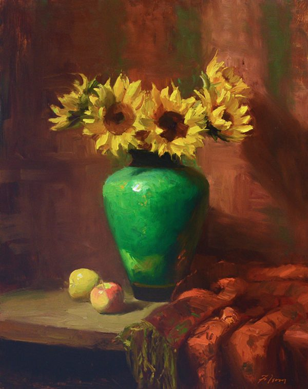 An original oil painting of a still life titled Sunflowers and Emerald by Kelli Folsom