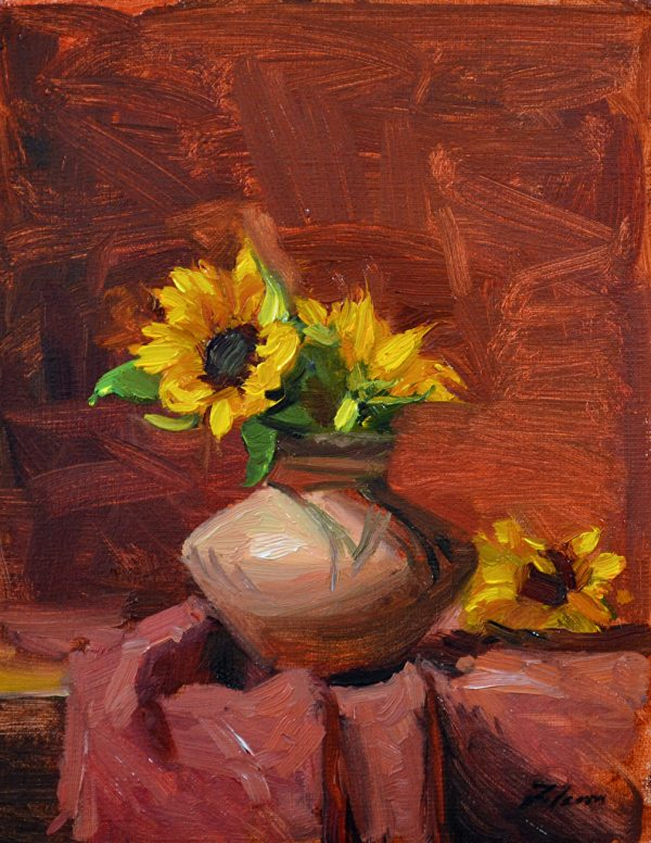 """Sunflowers in a Navajo Pot, Oil on Linen, 10"""" x 8"""""""