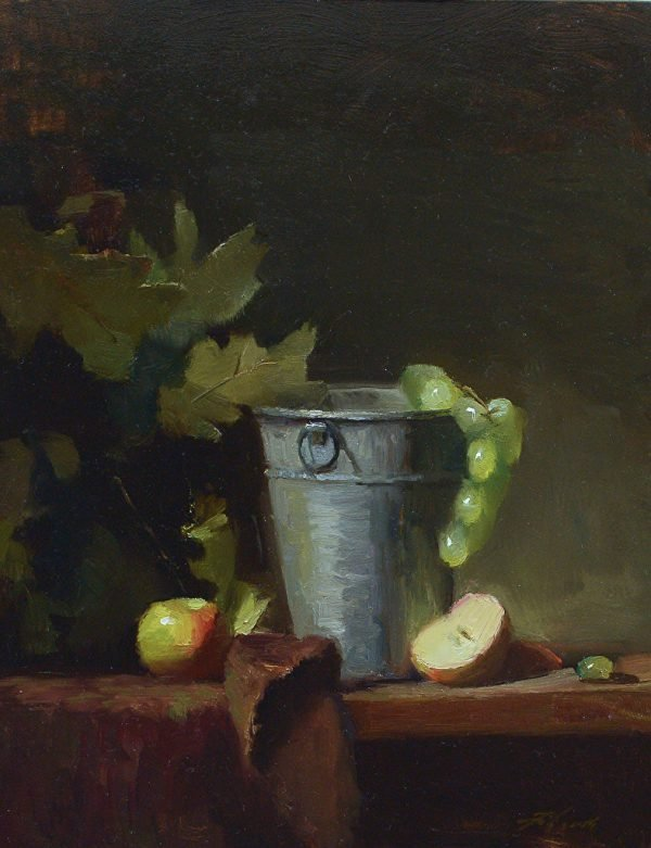 An original oil painting of a still life titled Wine Bucket and Apples by Kelli Folsom