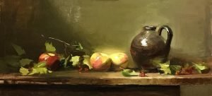 An original oil painting of a still life titled Apples, Berries and Old Jug by Kelli Folsom