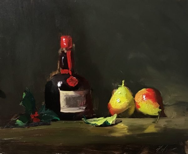 An original oil painting of a still life titled Grand Marnier and Pears by Kelli Folsom