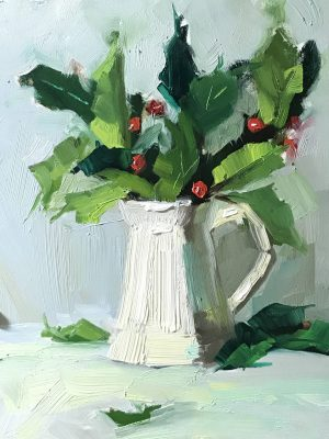 An original oil painting of a still life titled Holly Berries and White by Kelli Folsom