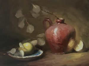 An original oil painting of a still life titled Lemons and Old Red by Kelli Folsom