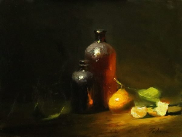 An original oil painting of a still life titled Amber and Mandarin by Kelli Folsom