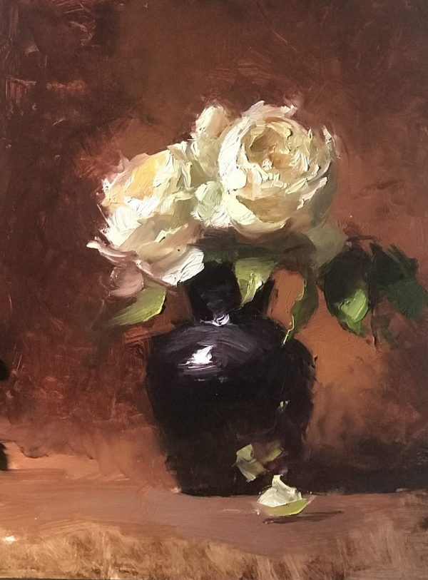 An original oil painting of a still life titled Amethyst and Roses by Kelli Folsom