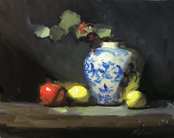 An original oil painting of a still life titled Apple, Lemons and Blue and White by Kelli Folsom
