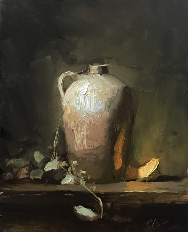 An original oil painting of a still life titled Cantaloupe and Old Jug by Kelli Folsom