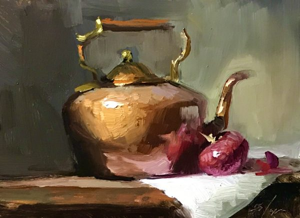 An original oil painting of a still life titled Copper Kettle and Onion by Kelli Folsom