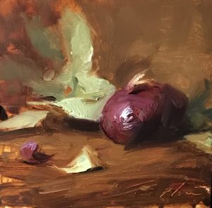 An original oil painting of a still life titled Purple Onion by Kelli Folsom
