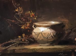 An original oil painting of a still life titled Southwest Bittersweet by Kelli Folsom
