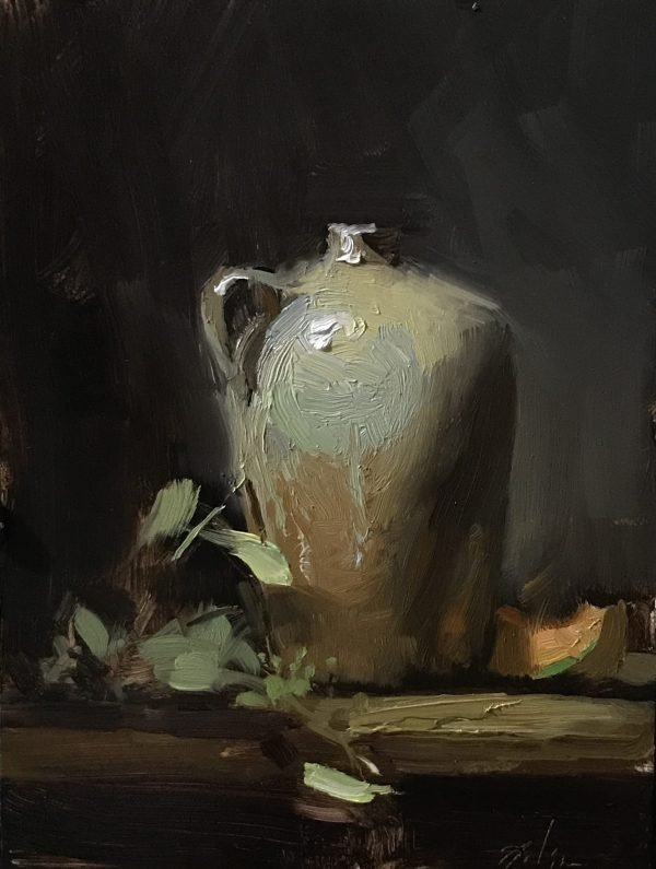 An original oil painting of a still life titled Velazquez Jug and Cantaloupe by Kelli Folsom