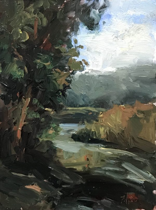 An original oil painting of a still life titled Winding Creek by Kelli Folsom