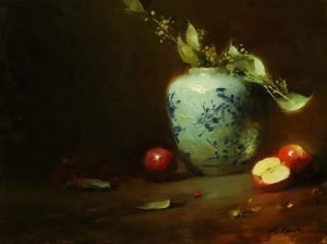 An original oil painting of a still life titled Ginger Jar and Apples by Kelli Folsom