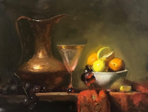 An original oil painting of a still life titled Citrus Abundance by Kelli Folsom